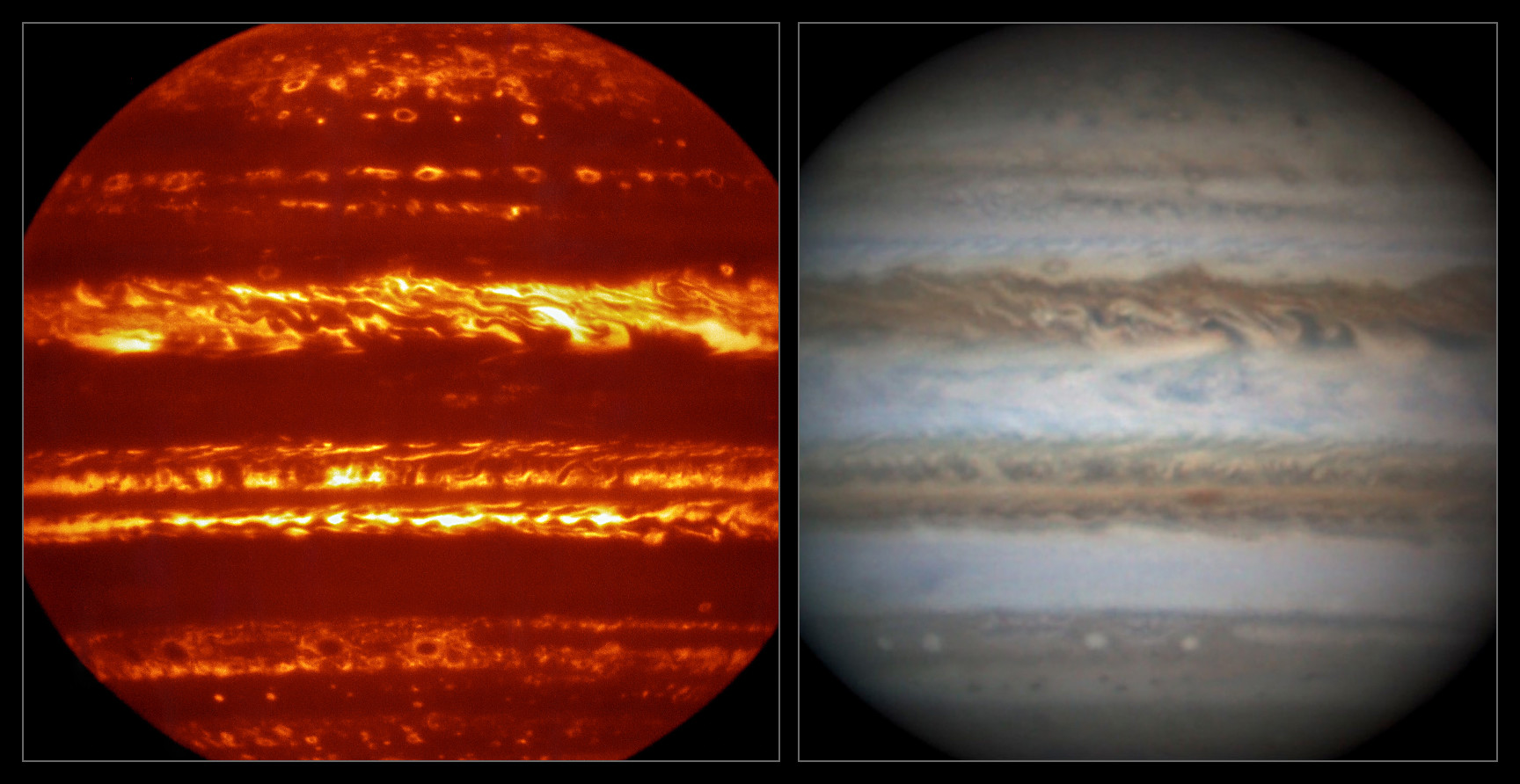 This view compares a lucky imaging view of Jupiter from VISIR (left) at infrared wavelengths with a very sharp amateur image in visible light from about the same time (right). Image credit: ESO/L. Fletcher/Damian Peach.