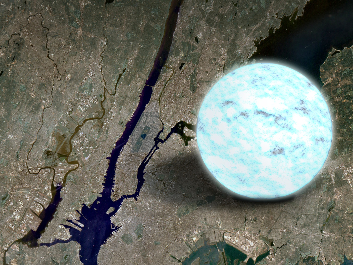 This illustration compares the size of a neutron star to Manhattan Island in New York, which is about 13 miles long. A neutron star is the crushed core left behind when a massive star explodes as a supernova and is the densest object astronomers can directly observe. Illustration credits: NASA's Goddard Space Flight Center.