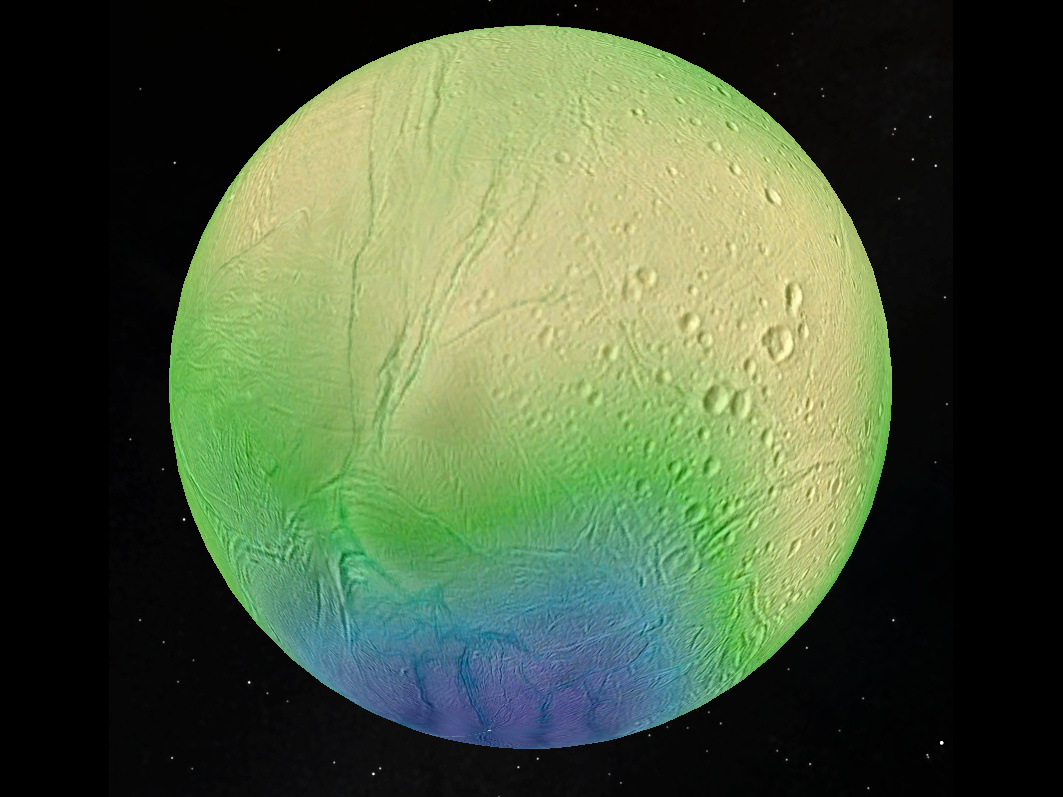 This picture of Enceladus has been created using data taken by Cassini's high-resolution camera. The ice crust thickness, indicated by the colour, has then been plotted over the moon's surface. According to the model, the thickness varies between about 35 kilometres (22 miles) in the cratered equatorial regions (yellow) to less than 5 kilometres (3 miles) in the active south polar terrain (blue). Image credit: LPG-CNRS-U. Nantes/Charles U., Prague.