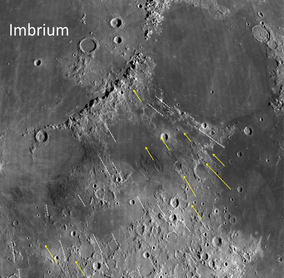 Grooves and gashes associated with the Imbrium Basin on the Moon have long been puzzling. New research shows how some of these features were formed and uses them to estimate the size of the Imbrium impactor. The study suggests it was big enough to be considered a protoplanet. Image credit: NASA/Northeast Planetary Data Center/Brown University.