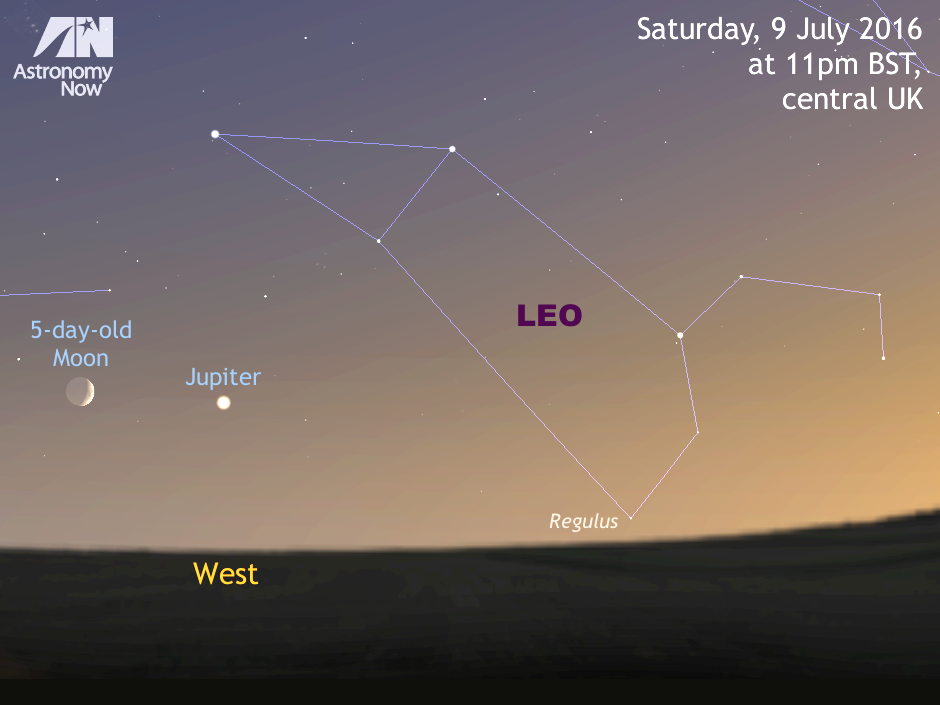 For observers in the UK and Western Europe, the 5-day-old waxing crescent Moon lies a binocular field of view to the left of planet Jupiter around 11pm local time on Saturday, 9 July. The pair will be low to the western horizon in bright twilight for the heart of the British Isles. Note that the Moon's size has been enlarged for clarity in this illustration. In the Southern Hemisphere, observers can see the pair much higher — and closer — in a dark sky. The Moon actually occults Jupiter as seen from the southern Indian Ocean. AN graphic by Ade Ashford.