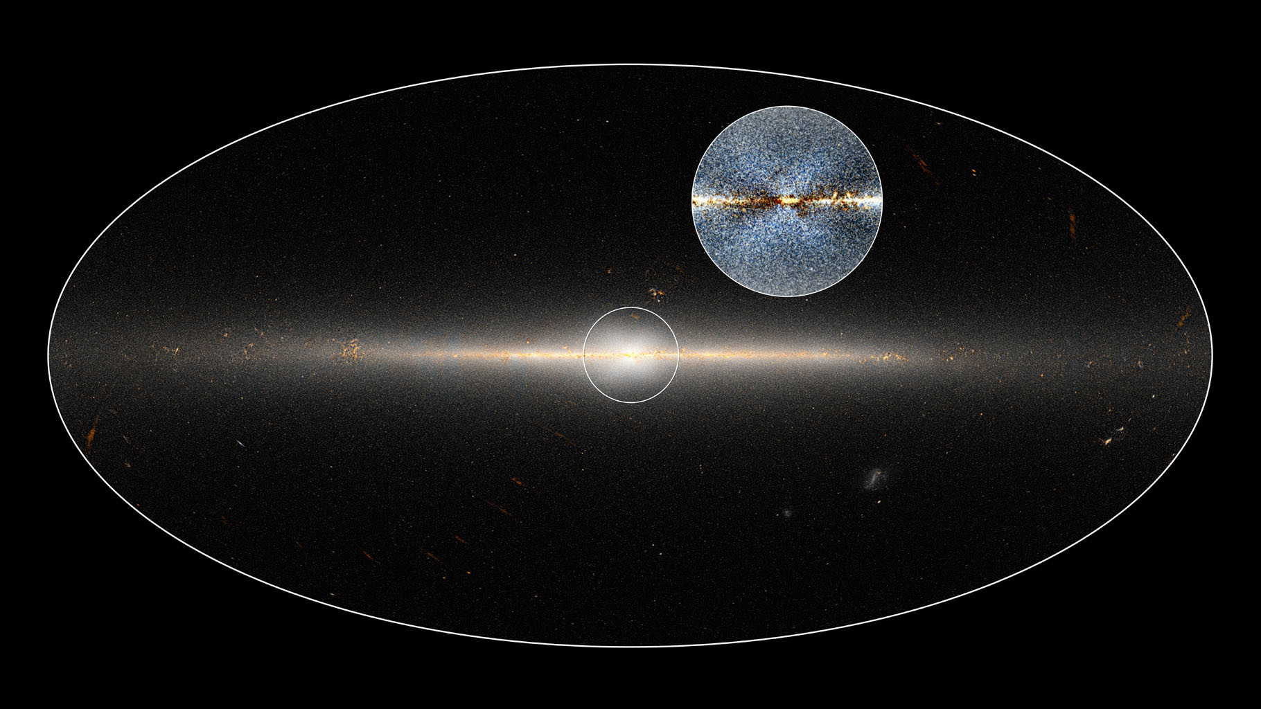 WISE all-sky image of Milky Way Galaxy. The circle is centred on the Galaxy's central region. The inset shows an enhanced version of the same region that shows a clearer view of the X-shaped structure. Illustration credit: NASA/JPL-Caltech; D. Lang/Dunlap Institute.