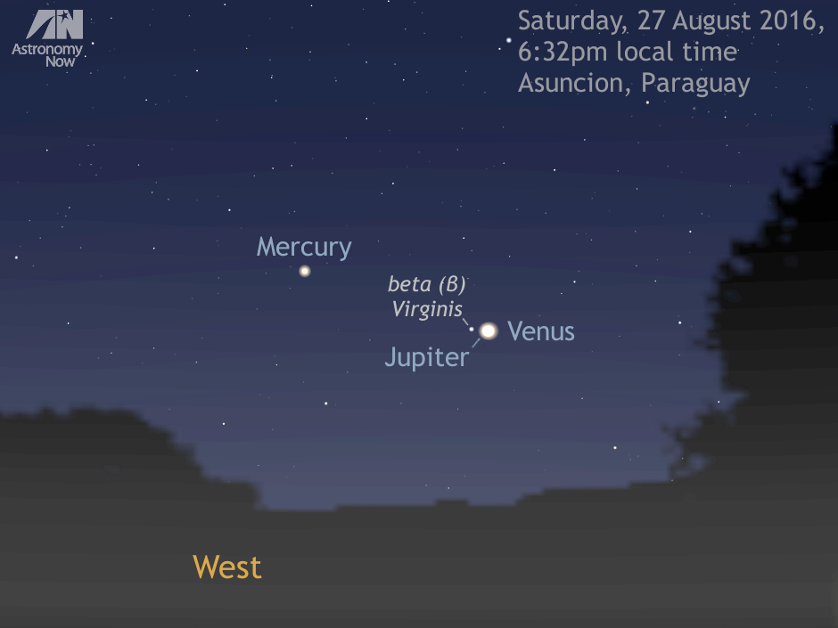 Central South America is the place to be to enjoy the conjunction of Jupiter and Venus at its best. As seen from one of the optimal locations — Asunción, the capital of Paraguay — the almost vertical inclination of the ecliptic to the horizon at the instant Venus and Jupiter are closest means they are still 9 degrees high in the west in deep evening twilight. As an added bonus, magnitude +0.9 Mercury lies just 5 degrees away, so you can fit all three planets into the field of view of a low-power binocular. Third-magnitude star beta (β) Virginis, common name Zavijava, lies 0.4 degrees from Jupiter toward Mercury. AN graphic by Ade Ashford.