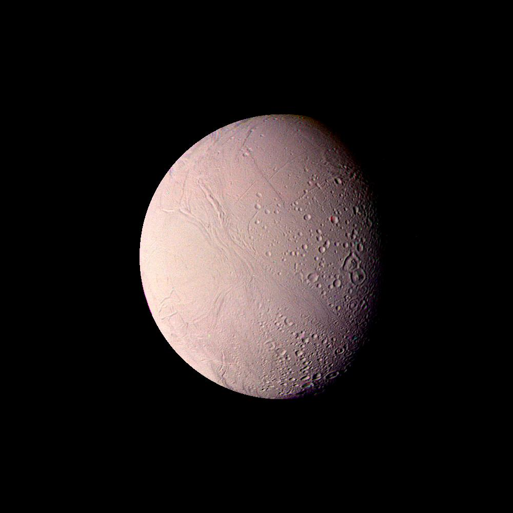 Voyager 2 saw hints that Enceladus might be active, but the icy moon held onto its secrets until the arrival of the Cassini mission. Image: NASA/JPL-Caltech