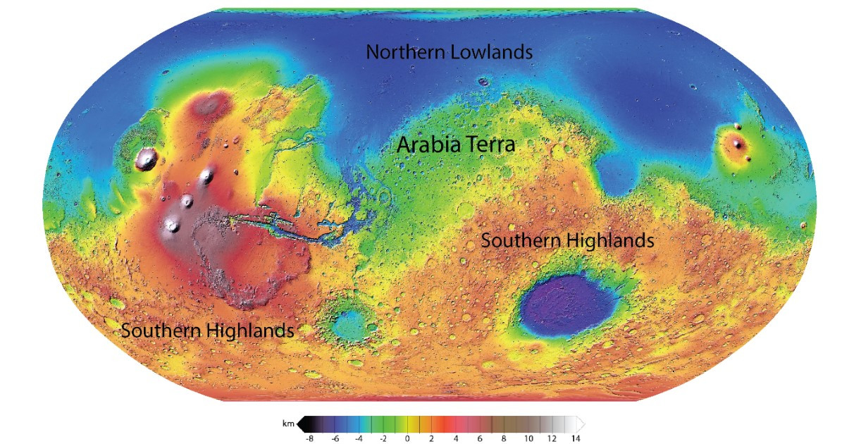 Topographic map of Mars. Arabia Terra is an ancient region that connects the southern highlands and the northern lowlands. Image credit: NASA/JPL/MOLA Science Team.