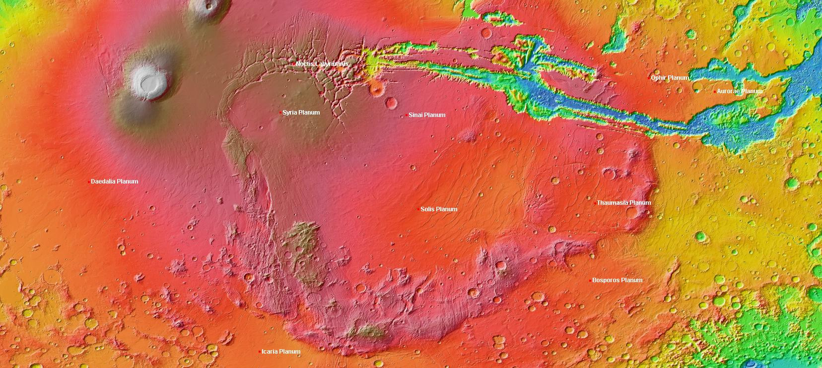 A map of Mars that includes the unusally high elevation region Louisiana State University researchers are studying called Thaumasia Planum. Click the image for a full-size version. Image credit: Wikimedia.