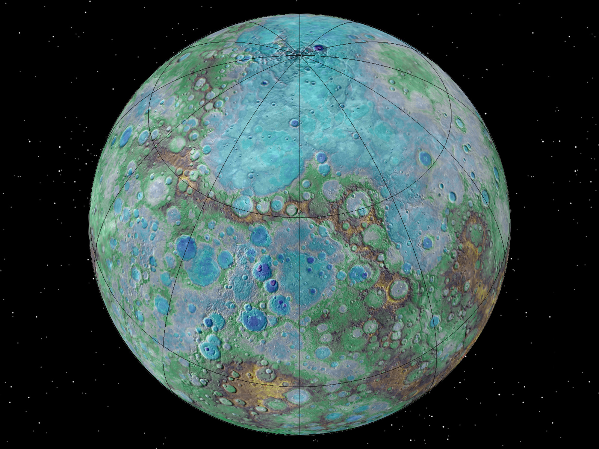 Surprising new NASA-funded research suggests that Mercury is contracting even today, joining Earth as a tectonically active planet. Illustration credits: NASA/JHUAPL/Carnegie Institution of Washington/USGS/Arizona State University.