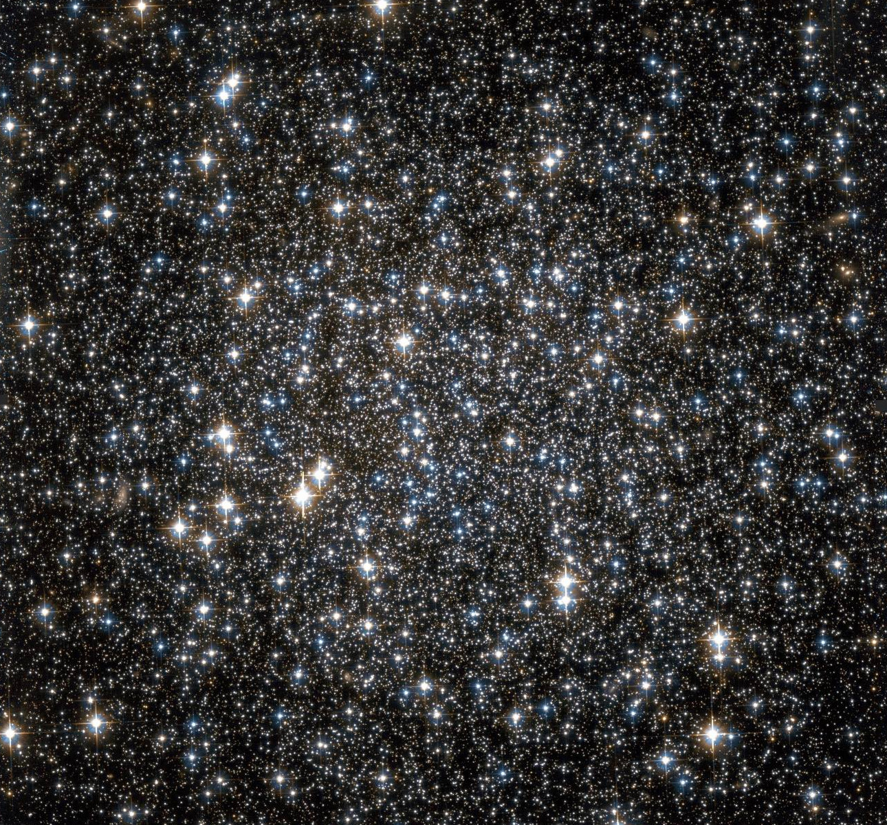 NASA/ESA Hubble Space Telescope Observation of the central region of the Galactic globular cluster NGC6101: compared to the majority of Galactic globular clusters, NGC6101 shows a less concentrated distribution of observable stars. Image credit: NASA.