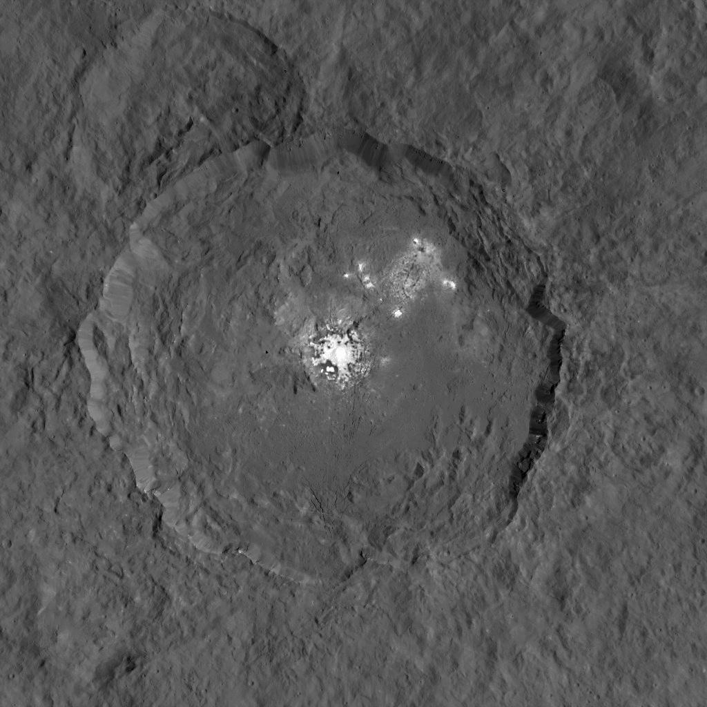 Dawn's view of Occator crater on Ceres, home to a collection of intriguing bright spots. Image: NASA/JPL-Caltech/UCLA/MPS/DLR/IDA.