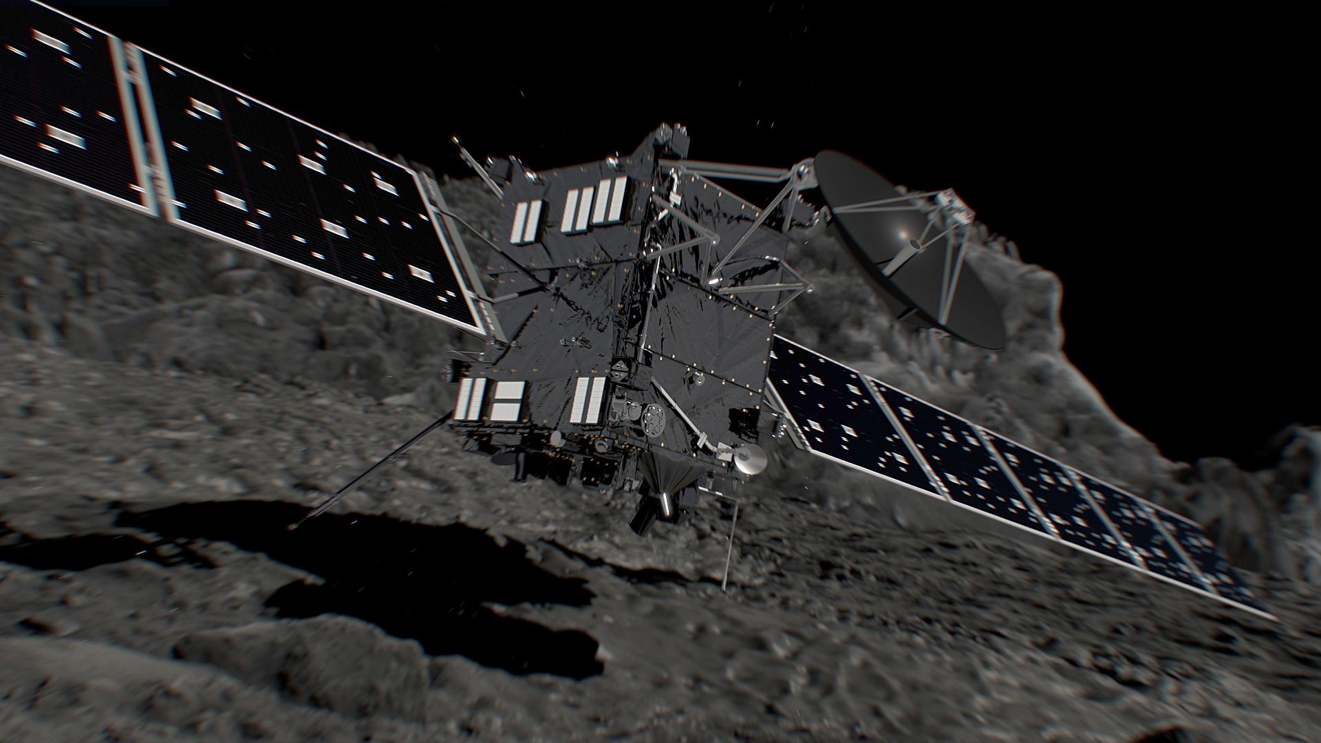 Artist's impression of ESA's Rosetta spacecraft shortly before hitting Comet 67P/Churyumov–Gerasimenko on 30 September 2016. Illustration credits: ESA/ATG medialab.