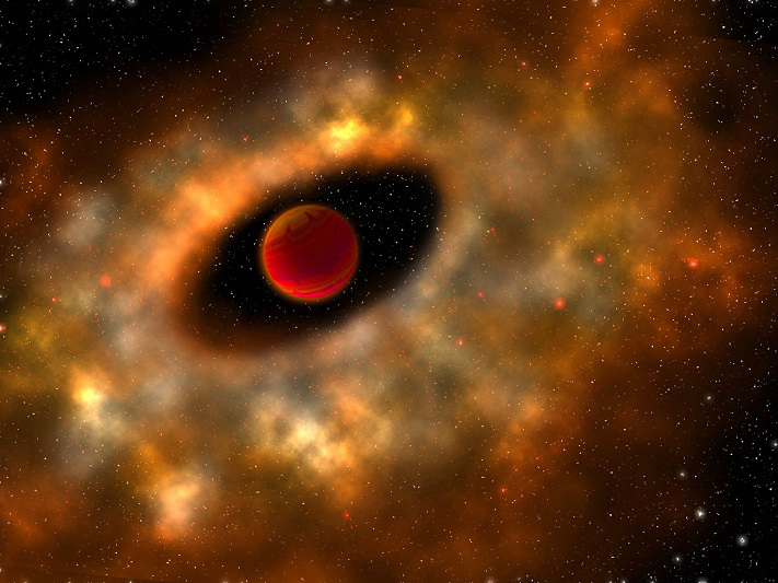 Artist's conception of a primordial rotating disc of gas and dust from which planets can form surrounding a young, low-mass object. Image credit: Robin Dienel.