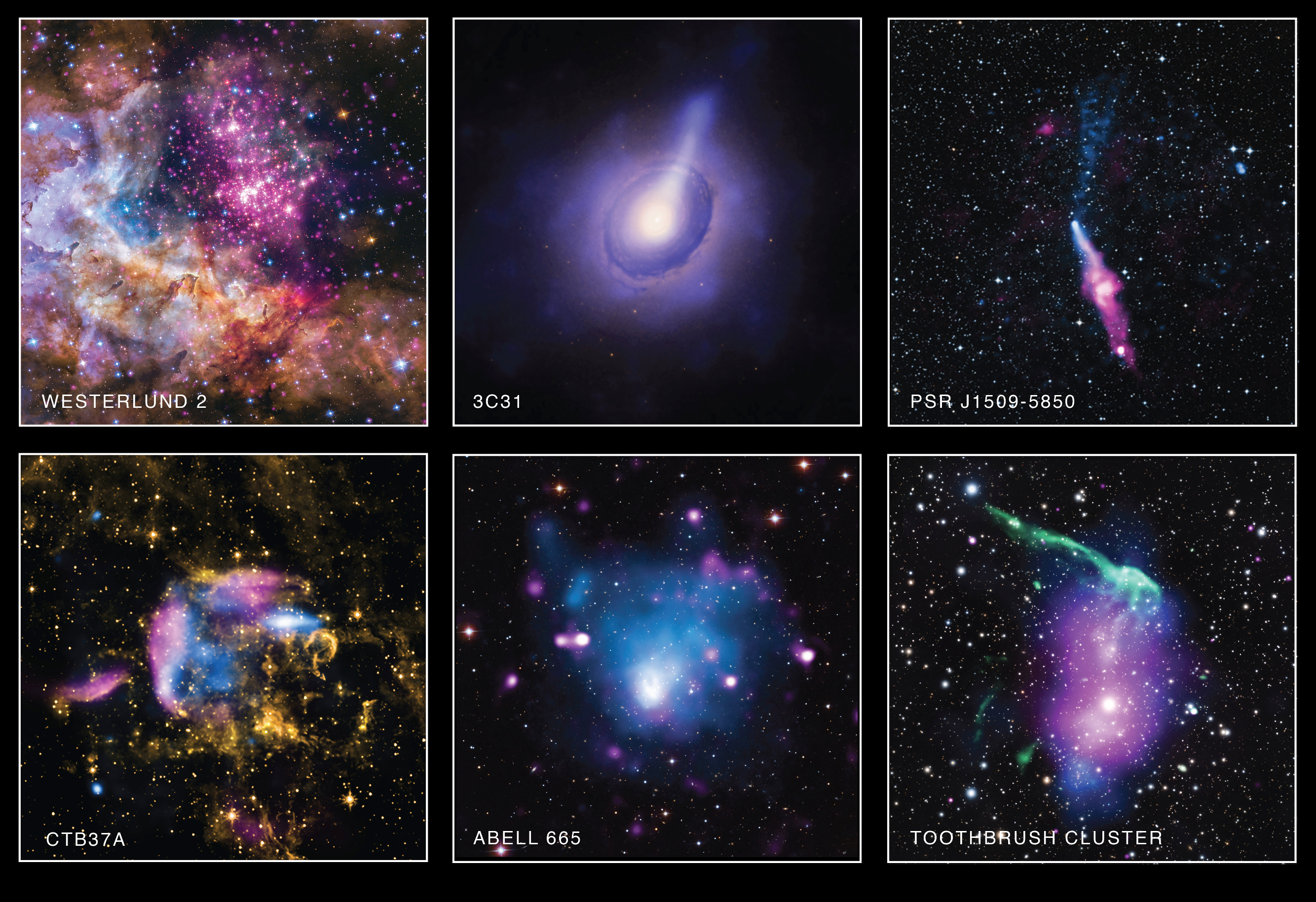 Each of these six new images from NASA's Chandra X-ray Observatory also includes data from telescopes covering other parts of the electromagnetic spectrum, such as visible and infrared light. This collection of images represents just a small fraction of the treasures that reside in Chandra's unique X-ray archive. For descriptions of all six images, see below. Image credits: NASA/CXC et al.