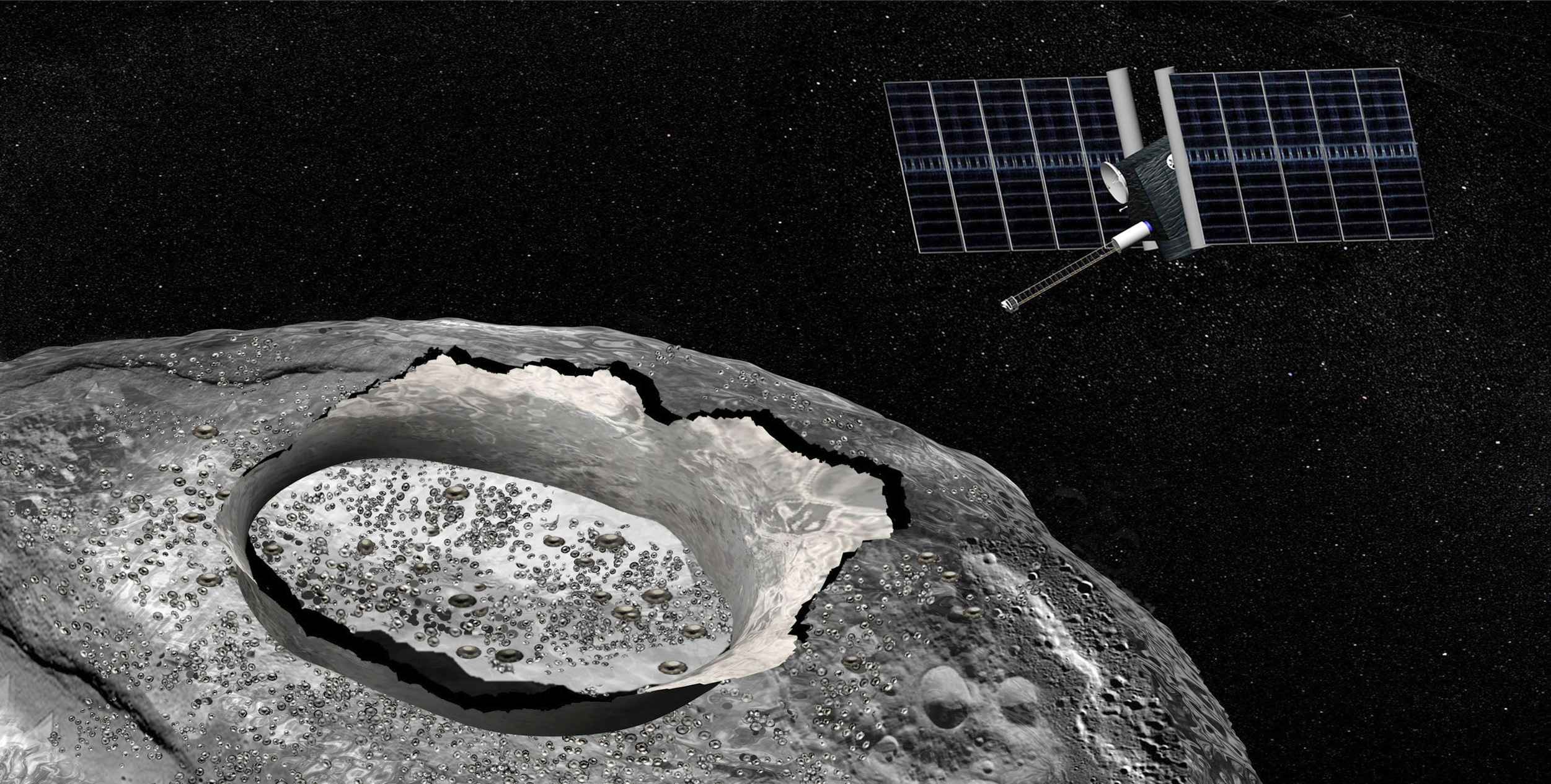Artist's concept of the Psyche spacecraft, a proposed mission for NASA's Discovery program that would conduct a direct exploration of the 186-mile-wide nickel-iron asteroid 16 Psyche thought to be a stripped planetary core. Image credit: NASA/JPL-Caltech.