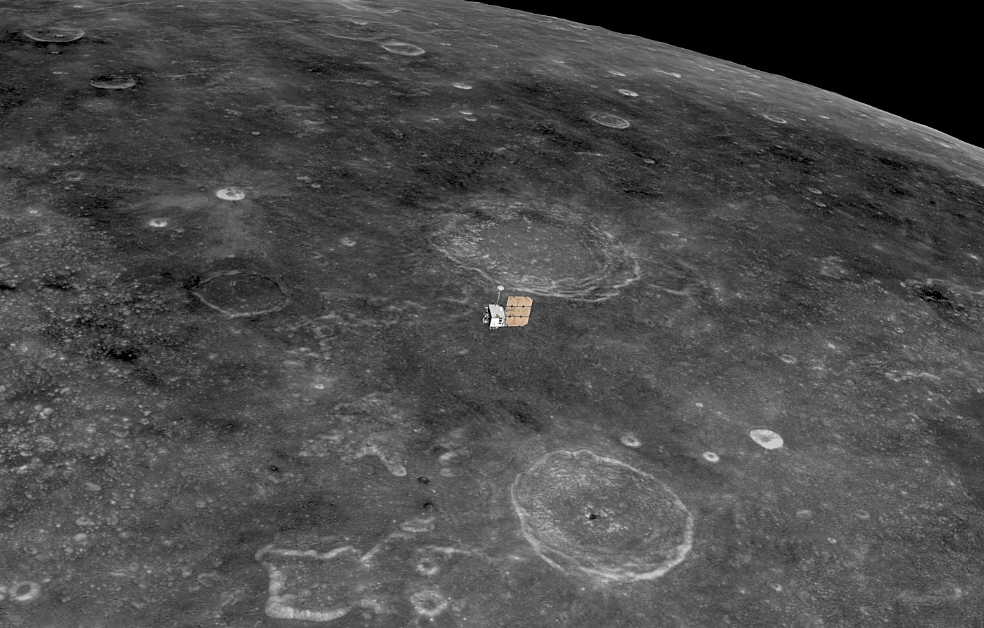 Just 3.9 × 2.7 × 2.6metres in size at launch on 18June 2009, NASA's Lunar Reconnaissance Orbiter appears dwarfed by the Moon that it has been mapping ever since. Image credit: NASA/GSFC/Arizona State University/Laura Davis.