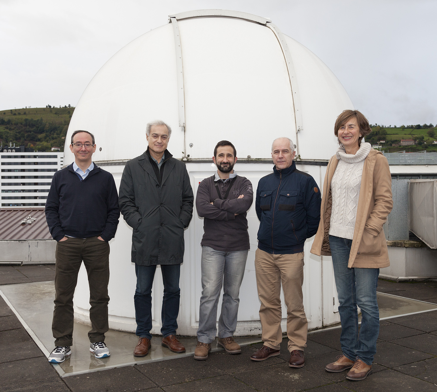From left to right: Ricardo Hueso, Agustin Sánchez Lavega, Santiago Pérez Hoyos, José Félix Rojas and Teresa del Rio Gaztelurrutia. Image credit: University of the Basque Country.