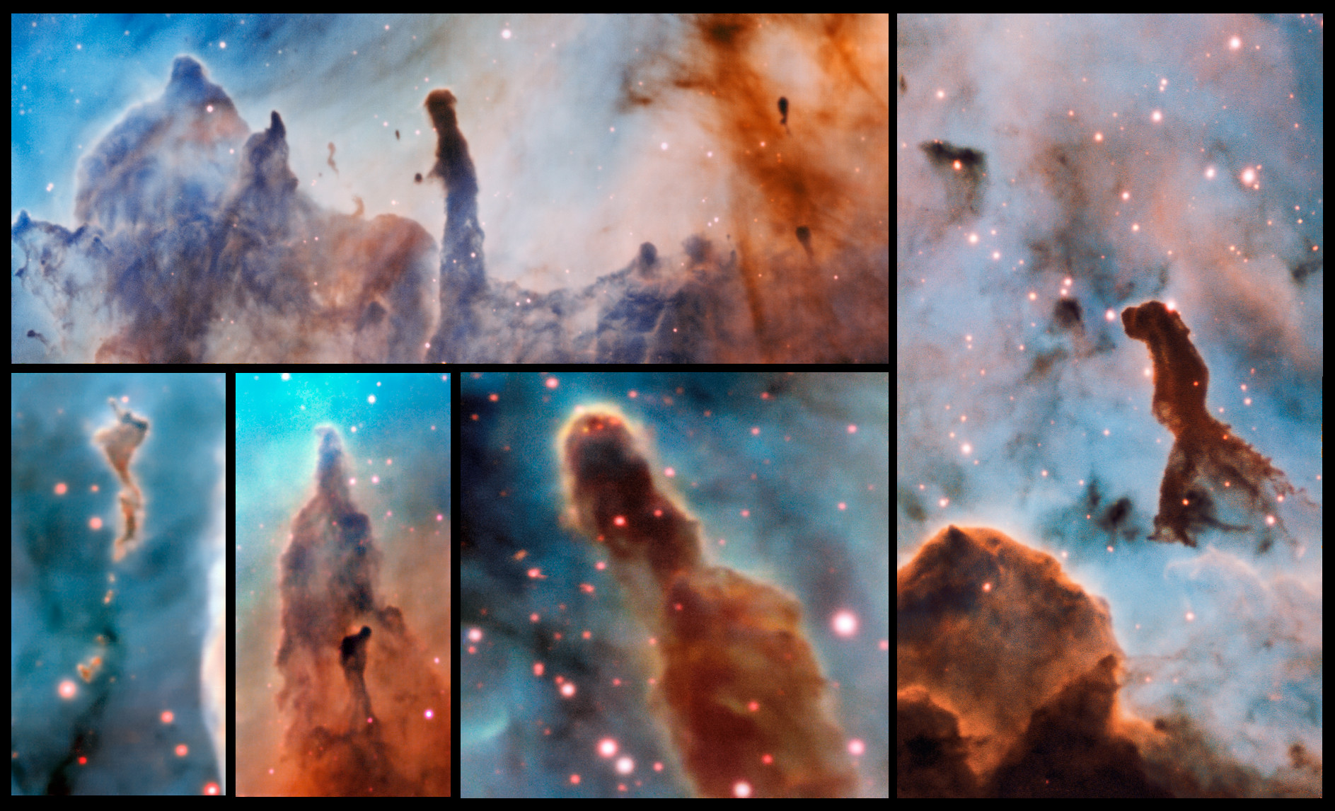 This composite image shows several pillars within the Carina Nebula which were observed and studied with the MUSE instrument, mounted on ESO's Very Large Telescope. The massive stars within the star formation region slowly destroy the pillars of dust and gas from which they are born. Click the picture for a larger version. Image credit: ESO/A. McLeod.