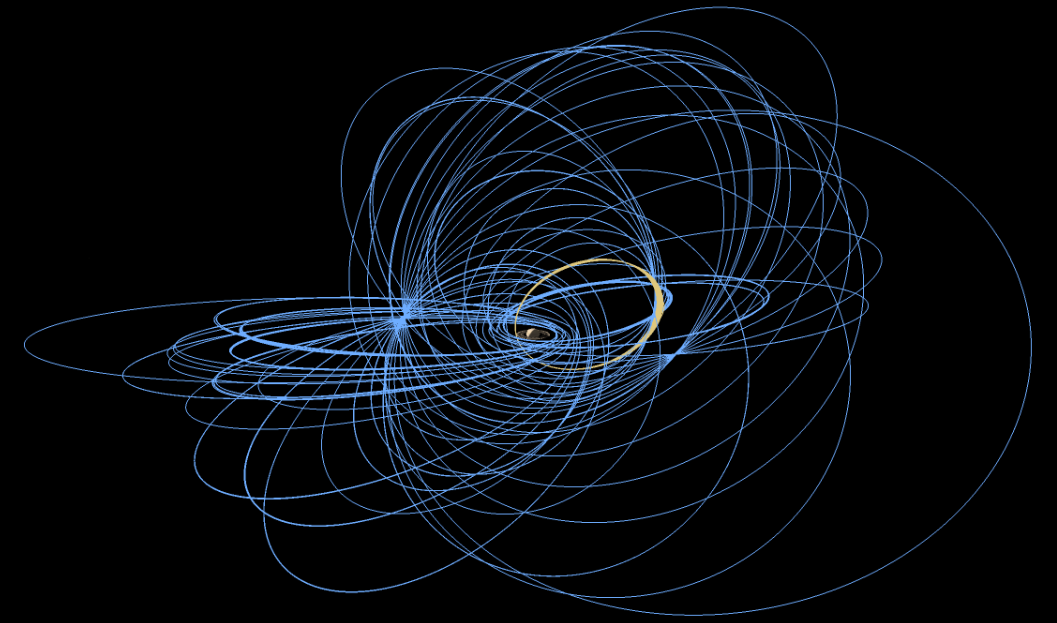 Cassini crosses Saturn's F ring once on each of its 20 Ring-Grazing Orbits, shown here in tan and lasting from late November 2016 to April 2017. Blue represents the extended solstice mission orbits, which preceded the ring-grazing phase. Click the graphic for a full-size animated GIF in a new window. Image credit: NASA/JPL-Caltech/Space Science Institute.