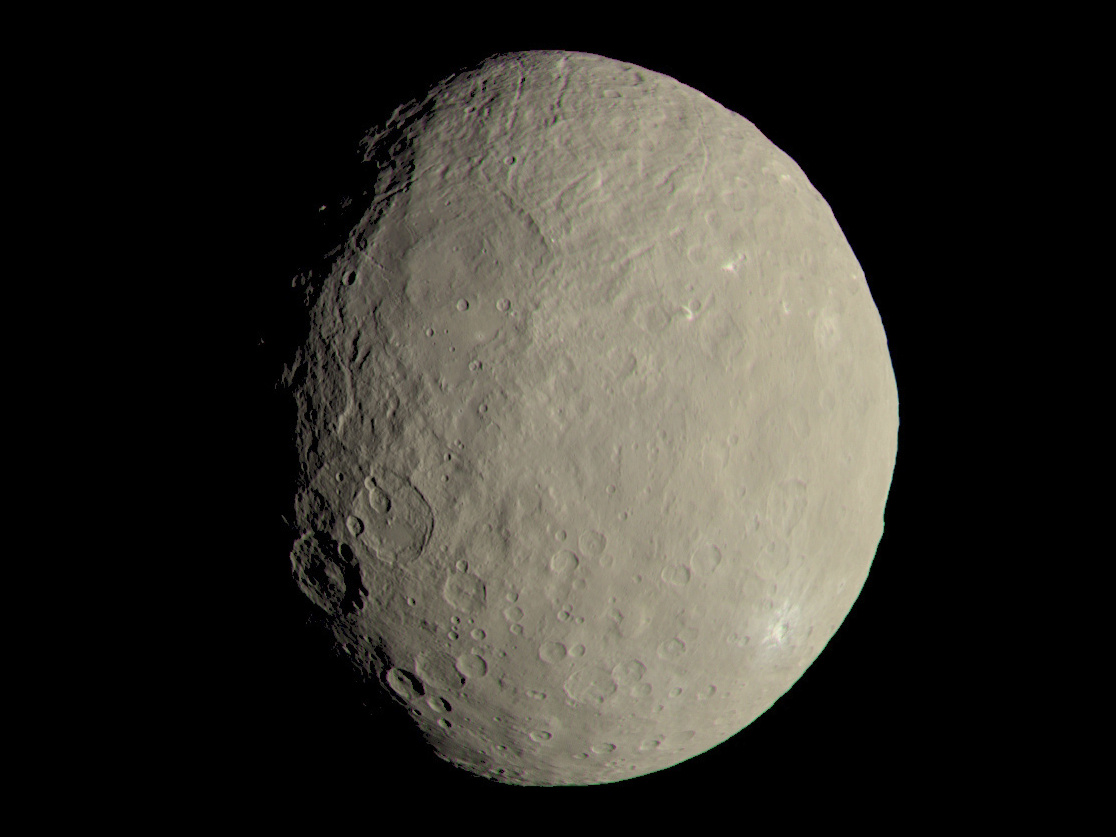 This image of 587-mile-wide Ceres approximates how the dwarf planet's colours would appear to the eye. Image credit: NASA/JPL-Caltech/UCLA/MPS/DLR/IDA.