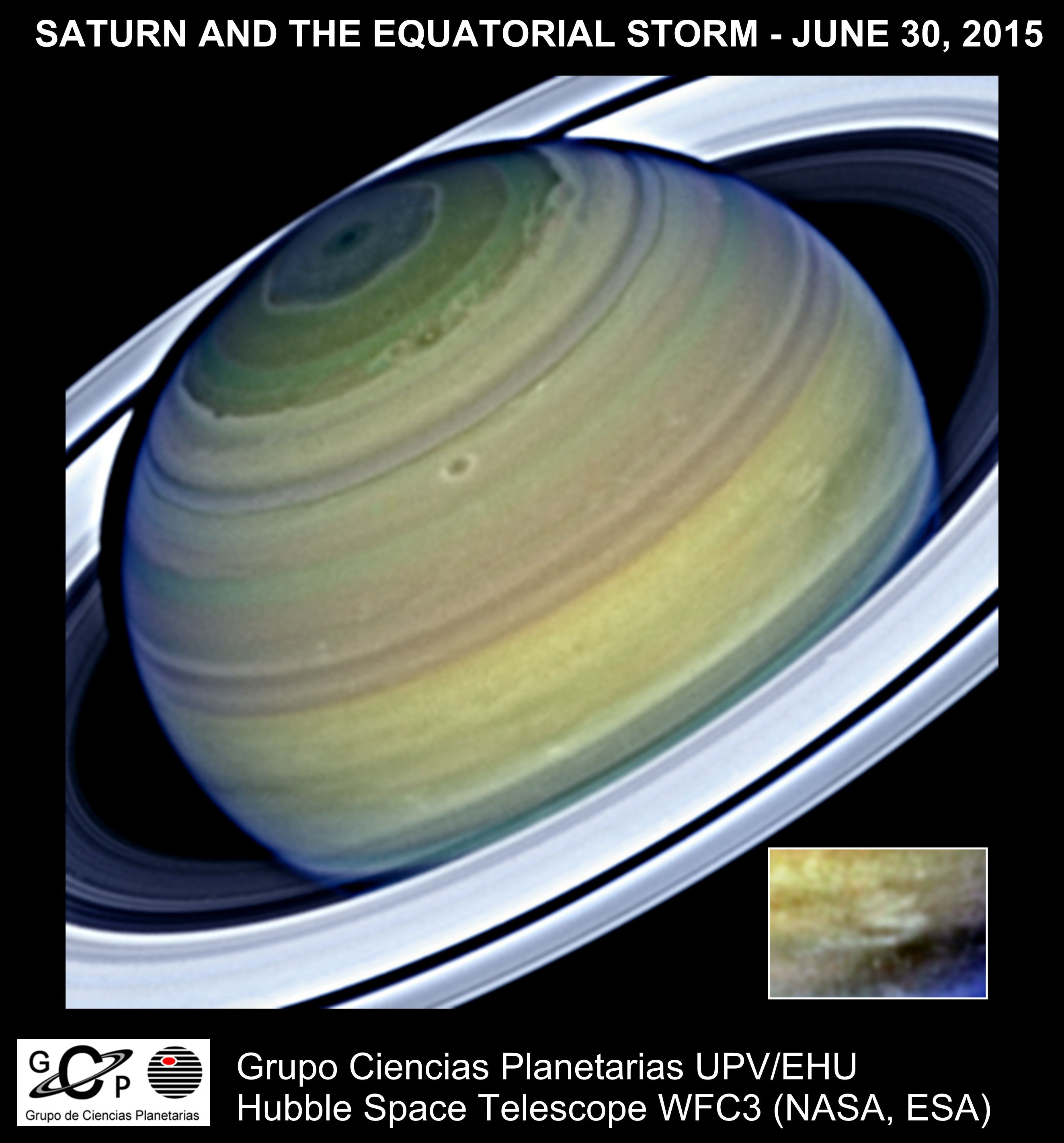 The planet Saturn observed using the Wide Field Camera 3 of the NASA/ESA Hubble Space Telescope on 30 June 2015. The inset box shows the equatorial storm.