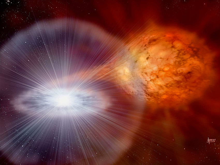 An artist's impression of a binary system similar to the one that originated nova Sagittarii 2015 N.2. Image credit:  David A. Hardy / PPARC.
