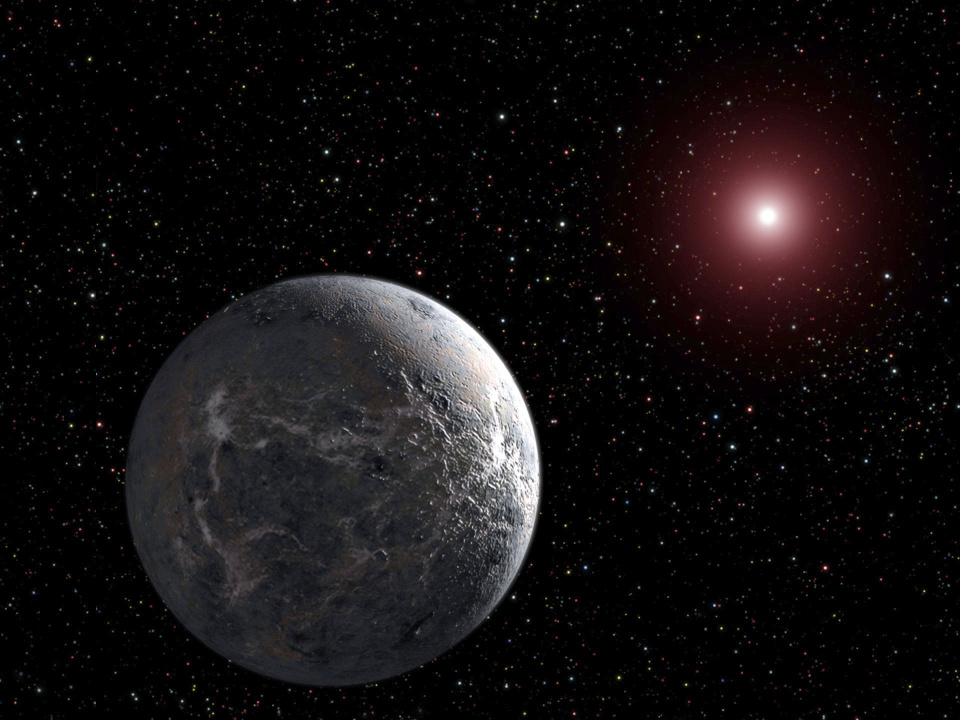 An artist's impression of a super-Earth like K2-3d orbiting a red dwarf star. Image credit: NASA.