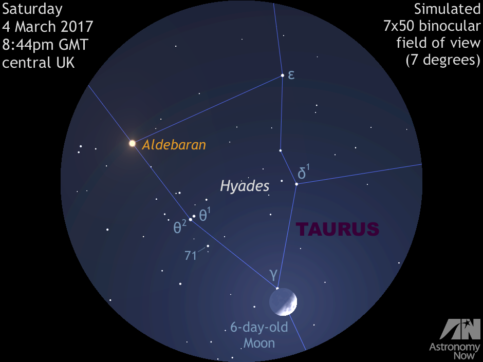See the Moon glide through the Hyades on 4-5 March ...