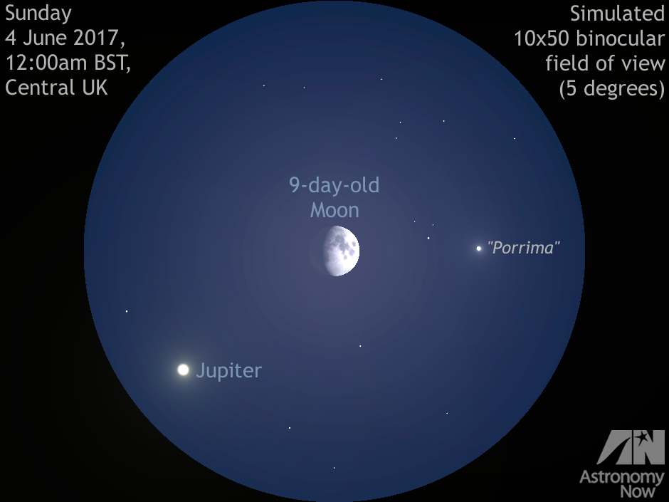 See the Moon hide double star Porrima then get close to Jupiter on 3