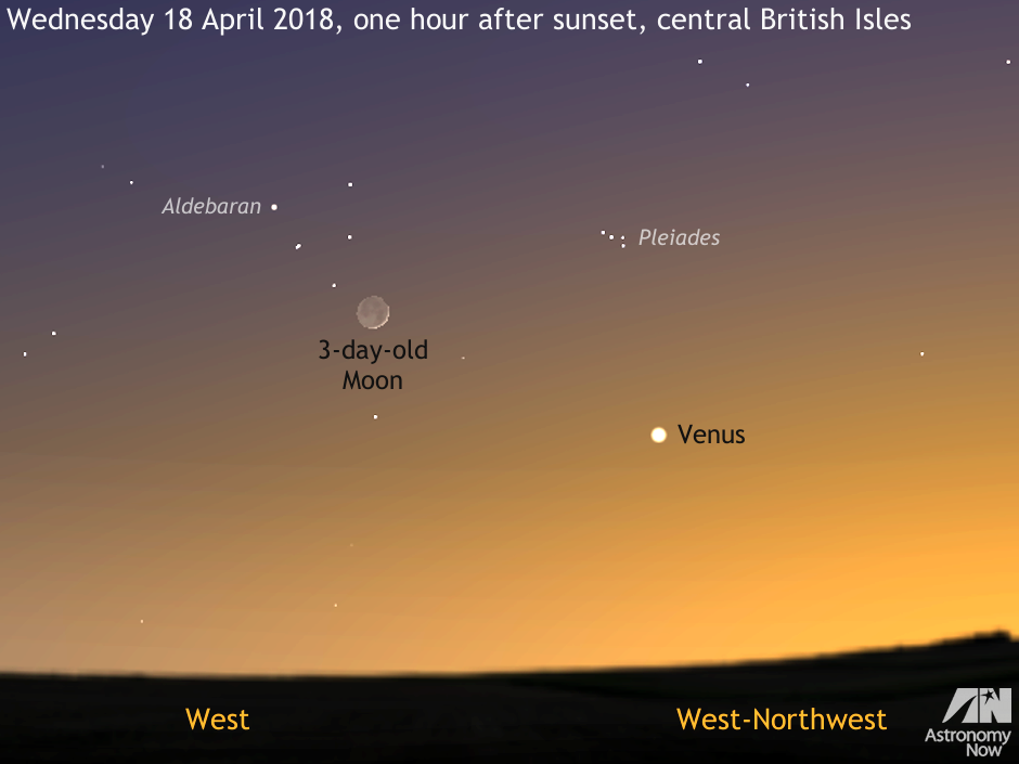 See the young crescent Moon meet Venus at dusk on 18 April