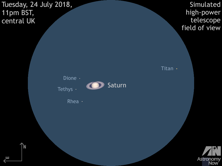 The Aspect Of Saturn And Its Brightest Moons Titan Rhea With Lesser Tethys Dione For Larger Backyard Scopes On UK Night 24 July