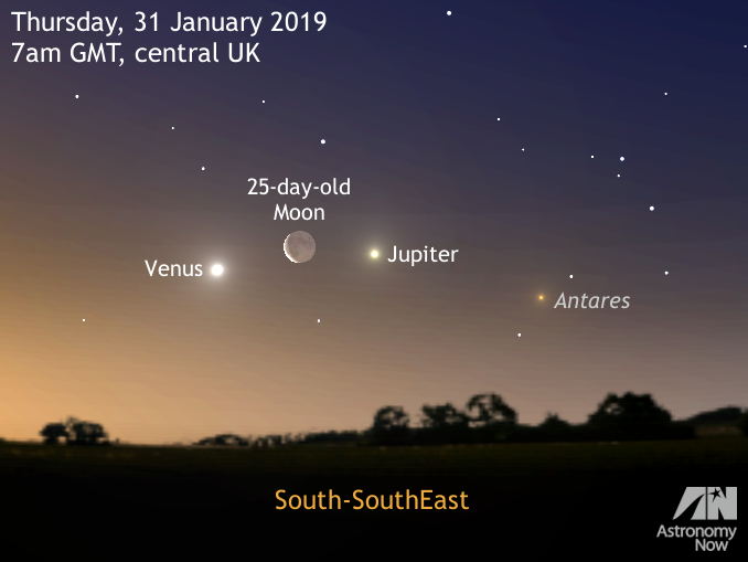 See a dawn triple conjunction and a lunar occultation on 31